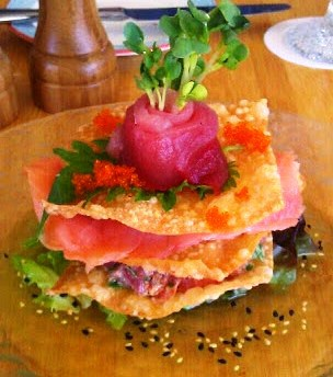 The Sashimi Napoleon melts in your mouth.