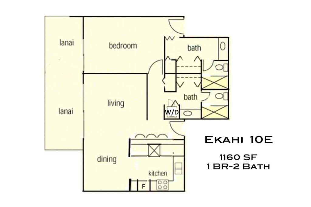 floor plan of lower village 1 bedroom 2 bath 10e