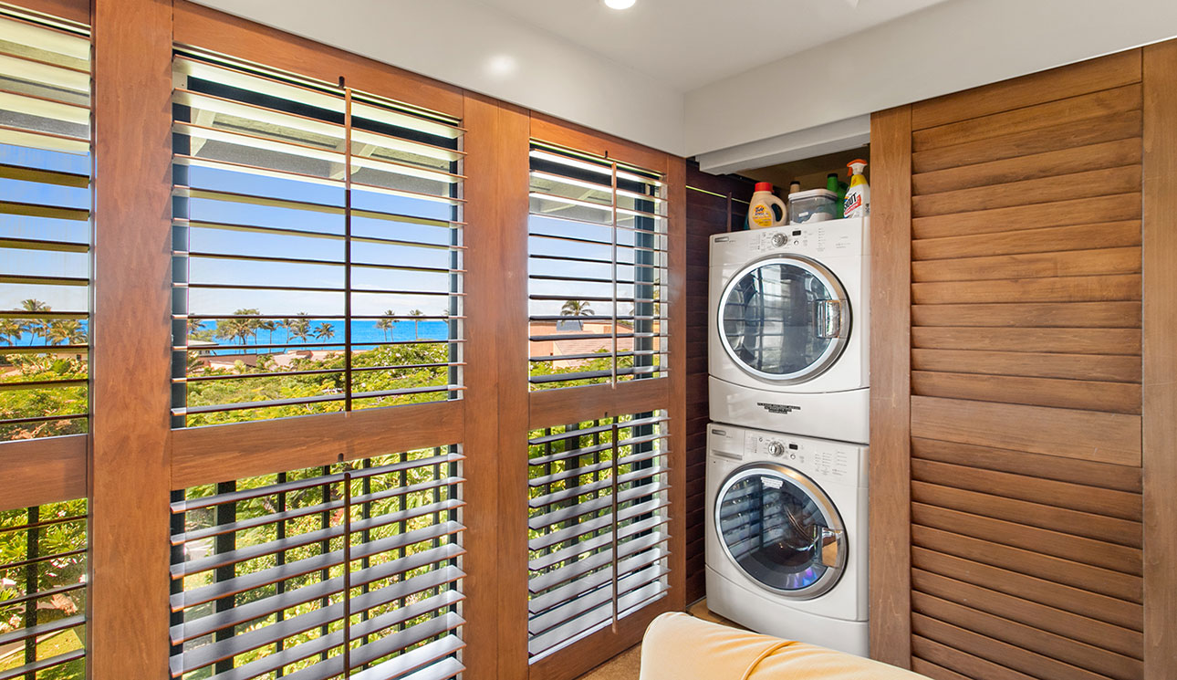 Ocean views when doing the laundry