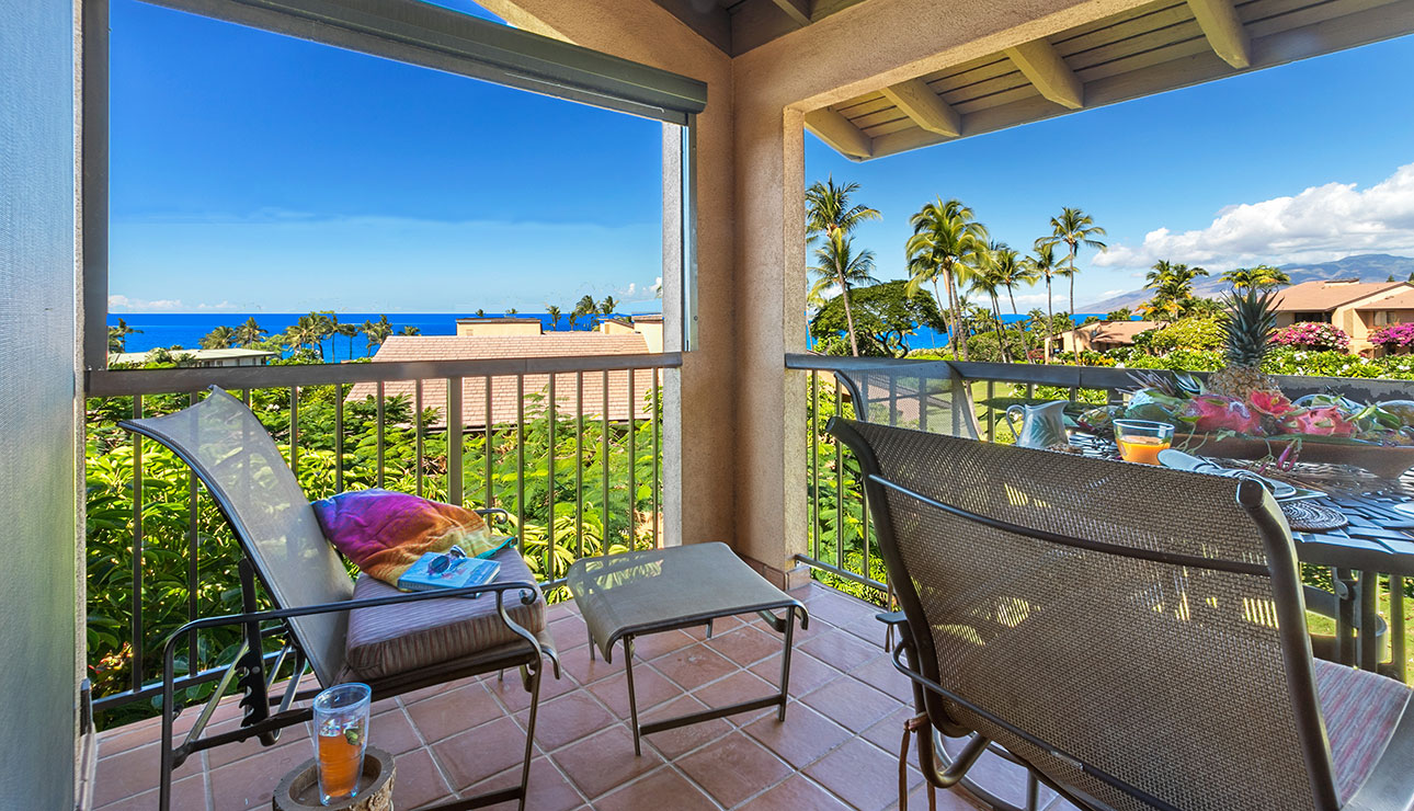 Lounge or dine on our lanai