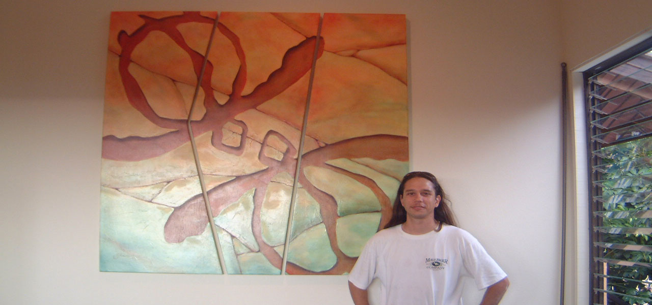 HONU triptych was painted on panels by local artist Guy Junker