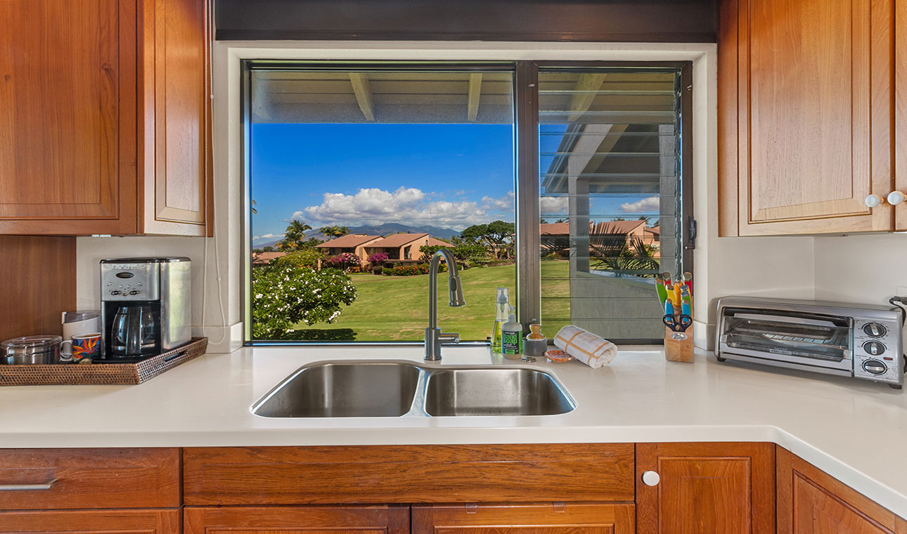 Private sweeping tropical views from kitchen
